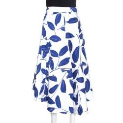 Marni White and Blue Leaf Print Cotton and Linen Drill Wrap Skirt M