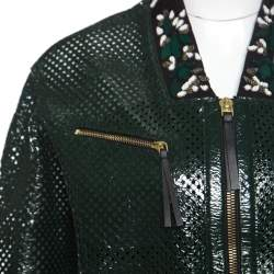 Marni Emerald Green Perforated Leather Floral Embellished Detail Bomber Jacket S