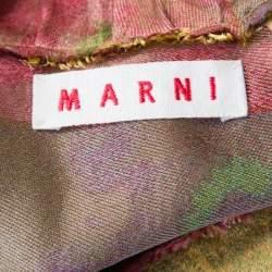 Marni Gold Floral Jacquard Frayed Trim Detail Cap Sleeve Top S