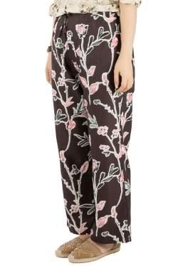 Marni Dark Raisin Honan Kew Print Cotton Silk Wide Leg Trousers S