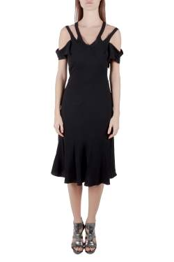 Marni Black Crepe Cutout Cross Back Detail Cold-Shoulder Dress S