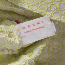 Marni Cream and Lime Green Embroidered Cotton Sleeveless Peplum Crop Top S