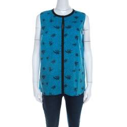 Marni Blue and Black Printed Cotton Sleeveless Top M