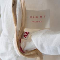 Marni Off White Linen Contrast Piping Detail Belted Jacket M