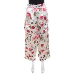 Marni Multicolor Floral Print Linen Silk Drawstring Waist Wide Leg Trousers S