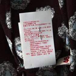 Marni Dark Brown Crystal Print Silk Flared Dress M