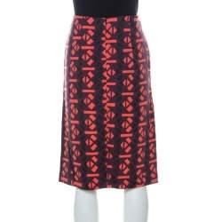 Marni Red Geometric Print Wool Pencil Midi Skirt M