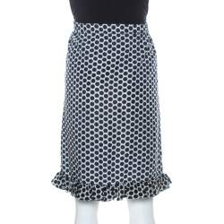 Marni Blue and White Polka Dot Printed Coated Silk Ruffle Detail Skirt S