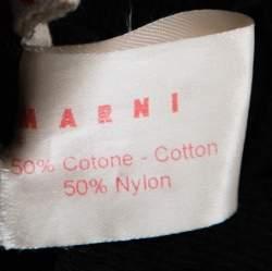 Marni Navy Blue Cotton Blend Macrame Dot Peplum Tunic S
