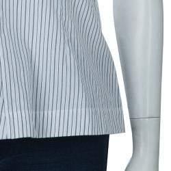 Marni White Striped Sleeveless Peplum Top S