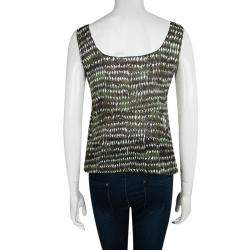 Marni Green Printed Cotton Pleated Sleeveless Top M