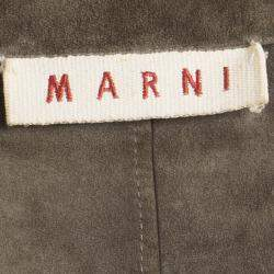 Marni Brown Open Front Short Sleeve Suede Jacket M