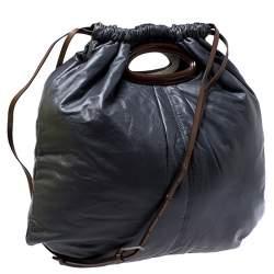 Marni Dark Grey Nappa Leather Drawstring Shoulder Bag