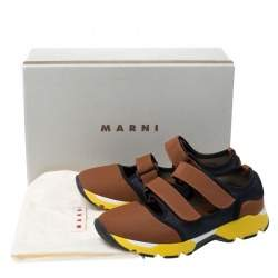 Marni Multicolor Neoprene and Mesh Scarpa Cutout Sneakers Size 37