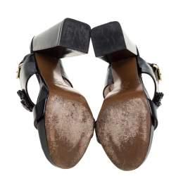 Marni Black Patent Leather Embellished Block Heel Platform Sandals Size 41