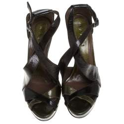 Marni Olive Green Patent Leather Peep Toe Ankle Strap Wedge Sandals Size 39