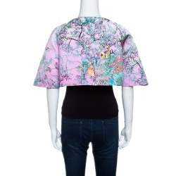Mary Katrantzou Pink Pavona Berry Print Cropped Matado Jacket S