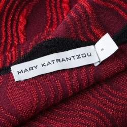Mary Katrantzou Red Jacquard Contrast Trim Long Powden Cardigan M