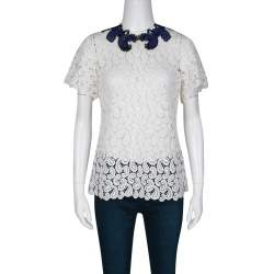 Mary Katrantzou White Paisley Guipure Lace Contrast Applique Birk Top M