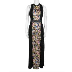Mary Katrantzou Black Cotton Eyelet Embroidered Floral Printed Alyss Dress M
