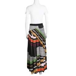 Mary Katrantzou Multicolor Graphic Viola Striped Plisse Pelar Skirt M