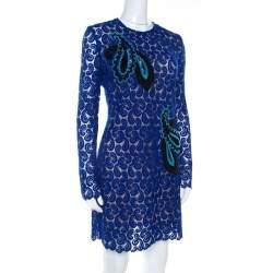 Mary Katrantzou Cobalt Blue Paisley Macrame Lace Overlay Geri Shift Dress M