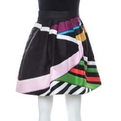 Mary Katrantzou Black Floral & Stripe Print Short Algernon Skirt S
