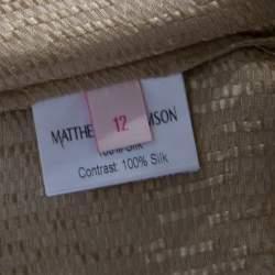 Matthew Williamson Gold Silk Pin-Tuck Detail Top M