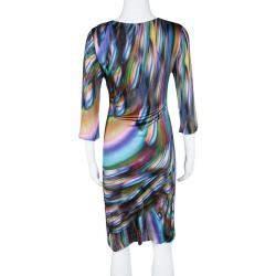 Matthew Williamson Multicolor Printed Knit Long Sleeve Dress M