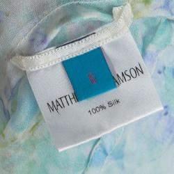 Mathew Williamson Multicolor Blossom Snake Mousseline Cold Shoulder Kaftan Silk Top S