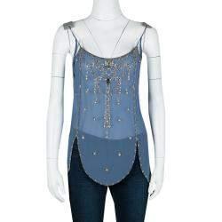 Matthew Williamson Blue Crystal Embellished Sleeveless Silk Top M
