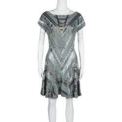 Matthew Williamson Grey Embellished Silk Cap Sleeve Dress M