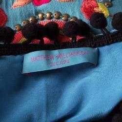 Matthew Williamson Escape Blue Floral Embroidered Silk Pom Pom Trim Sleeveless Dress M