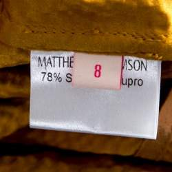 Matthew Williamson Mustard Yellow Textured Tie Detail Faux Wrap Shorts S