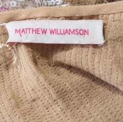 Matthew Williamson Beige Silk Sequin Embellished Tank Top S