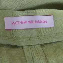 Matthew Williamson Pastel Green Patterned Jacquard Silk Pleat Front Trousers M