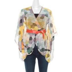Matthew Williamson Multicolor Honeycomb Printed Silk Wrap Kimono Tunic S