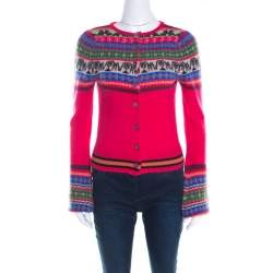 Matthew Williamson Pink Fair Isle Patterned Wool Button Front Cardigan S