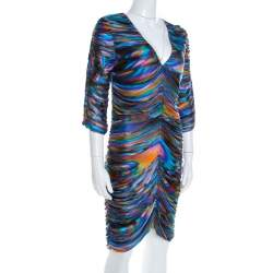 Matthew Williamson Multicolor Printed Ruched Jersey Long Sleeve Dress M