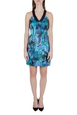Matthew Williamson Blue Orchid and Stripe Print Silk Sleeveless Dress M