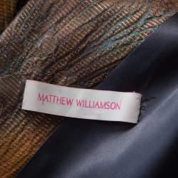 Matthew Williamson Multicolor Printed Jacquard Plunge Neck Cocktail Dress M