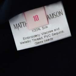 Matthew Williamson Navy Blue Silk Embellished Floral Applique Maxi Dress M