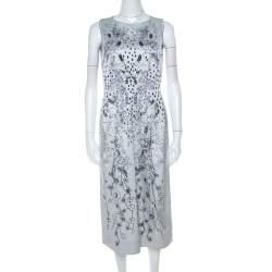 Matthew Williamson Grey Floral Print Cotton Blend Sleeveless Dress M