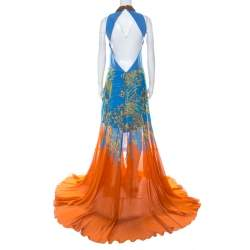 Matthew Williamson Blue & Orange Printed Chiffon Dress With Organza Top L