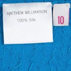 Matthew Williamson Turquoise Silk Rib Knit Embellished Dress M