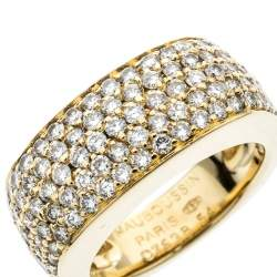 Mauboussin Pave Diamonds 18k Yellow Gold Cocktail Band Ring Size 54