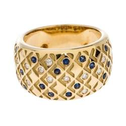Mauboussin Salomé Paved Diamonds and Sapphires 18K Yellow Gold Ring Size EU 52