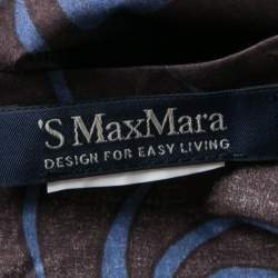 'S Max Mara Blue and Black Leaf Printed Cap Sleeve Top M