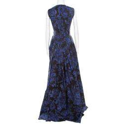 Max Mara Black and Blue Floral Printed Sleeveless Acinoso Gown S