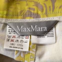 Max Mara Yellow Paisley Print Stretch Cotton Pencil Skirt M